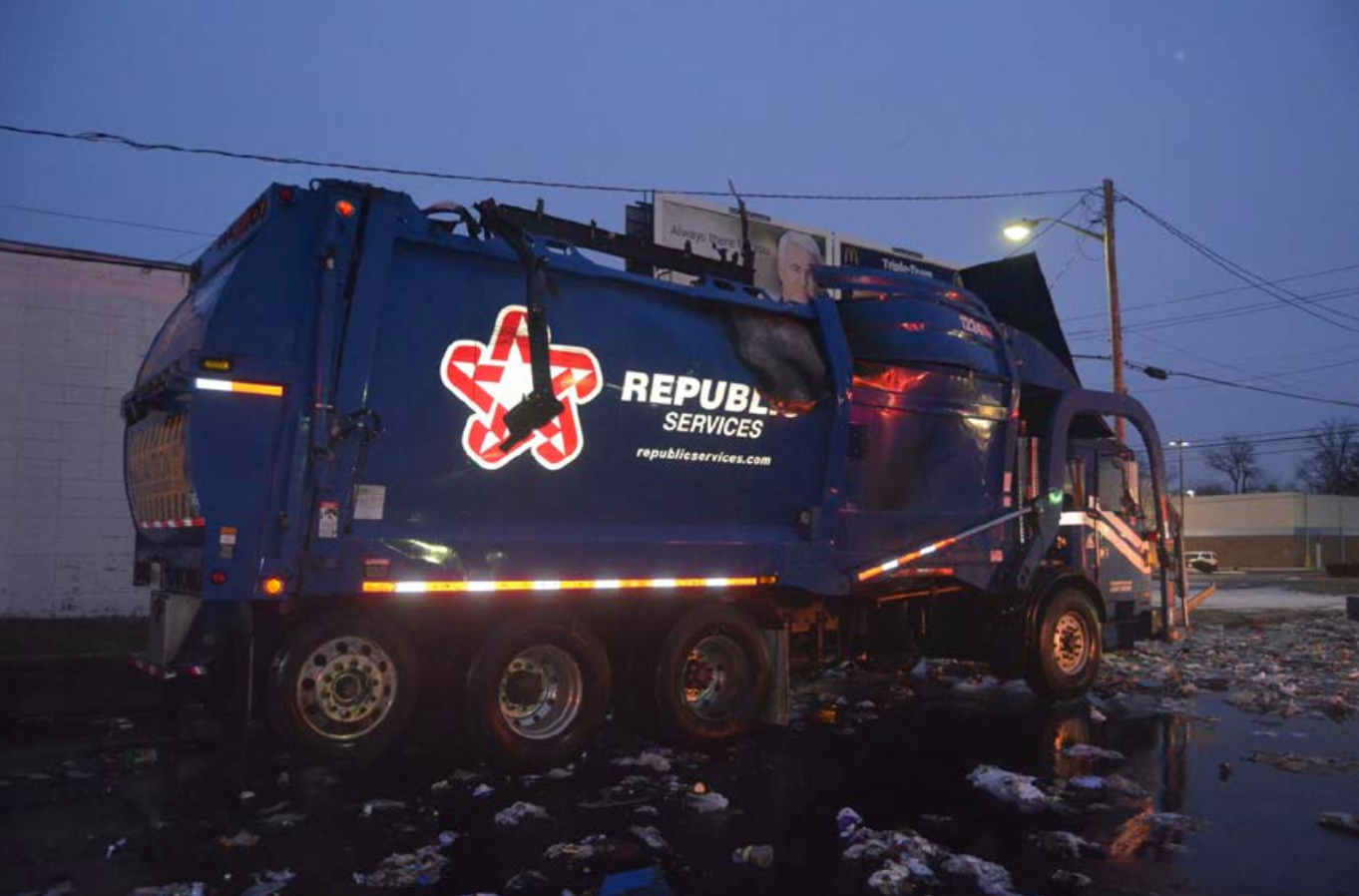 Picture of the exploded CN powered garbage truck in Indianapolis.
