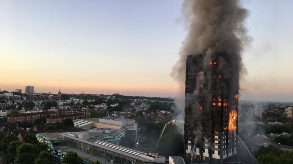 The Greenfell Tower in London towards the end of the fire